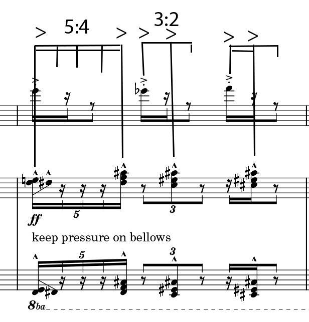 Example 3: This primary rhythm underlies much of the work – sense of order vs. apparent order.