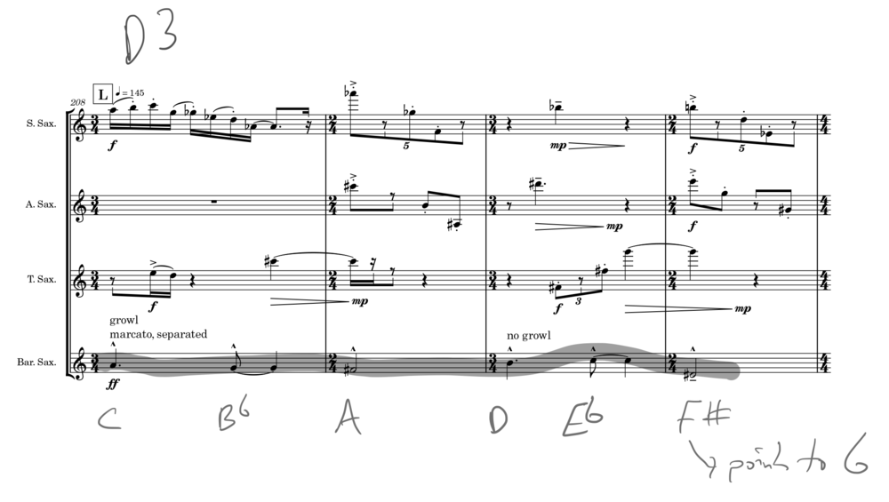 """Example 1: This primary theme underlies much of the work, but is generally obscured. It consists of all pitches from a harmonic-minor scale (circumstantially). It moves up by 5ths, when it repeats. It will enclose the pitch a 5th above the starting pitch and keep going (e.g. Ab-F#–>G). The first five notes of the theme are particularly important [0,1,3,6]. This excerpt is the beginning of the climax of the work, which has the theme repeatedly in the bari. This theme is always in the bari at sections labelled """"D."""""""