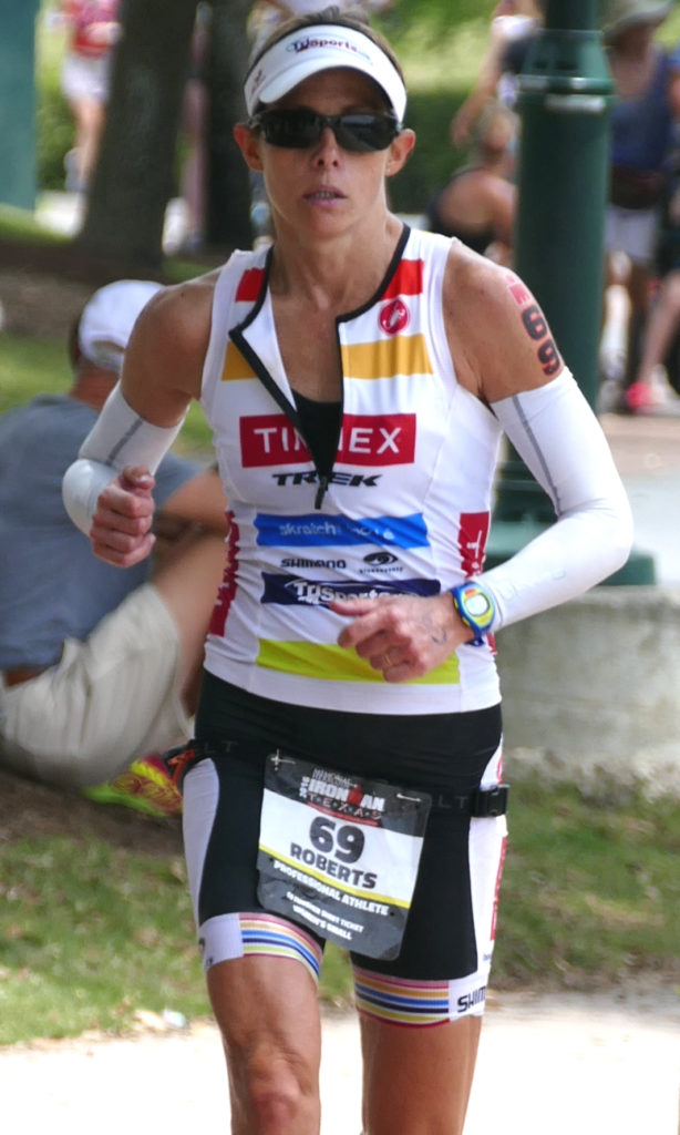 Lisa Roberts running her way onto the podium at IRONMAN Texas, 2016.