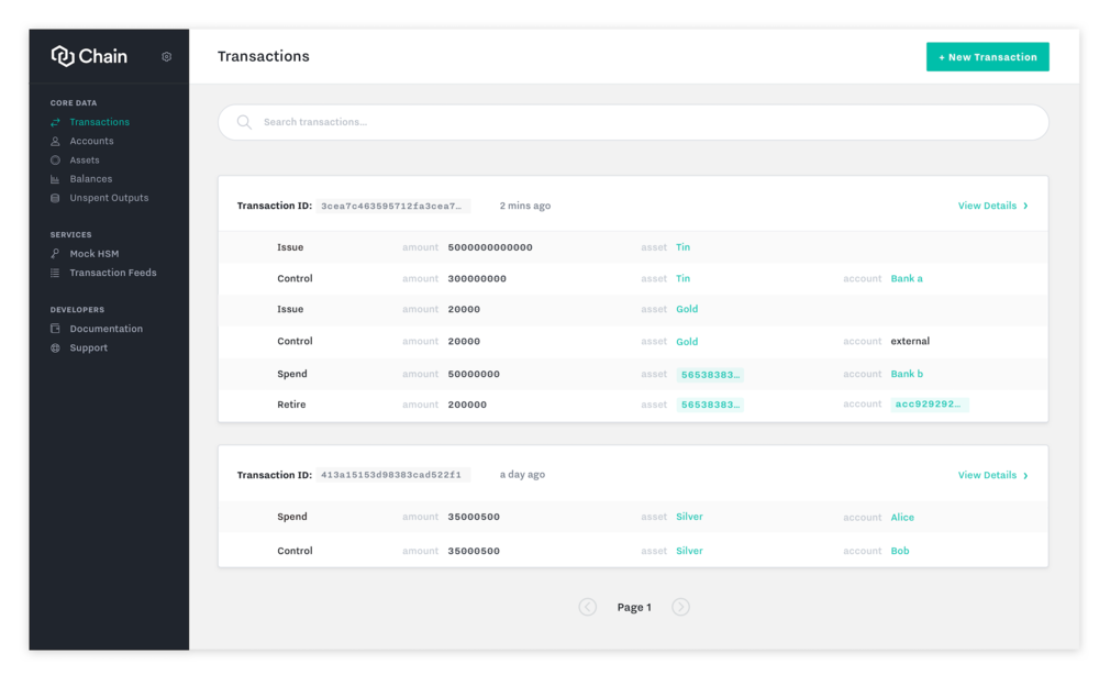 Transaction activity view. Links indicate that users can click to view more details (e.g. asset Gold).