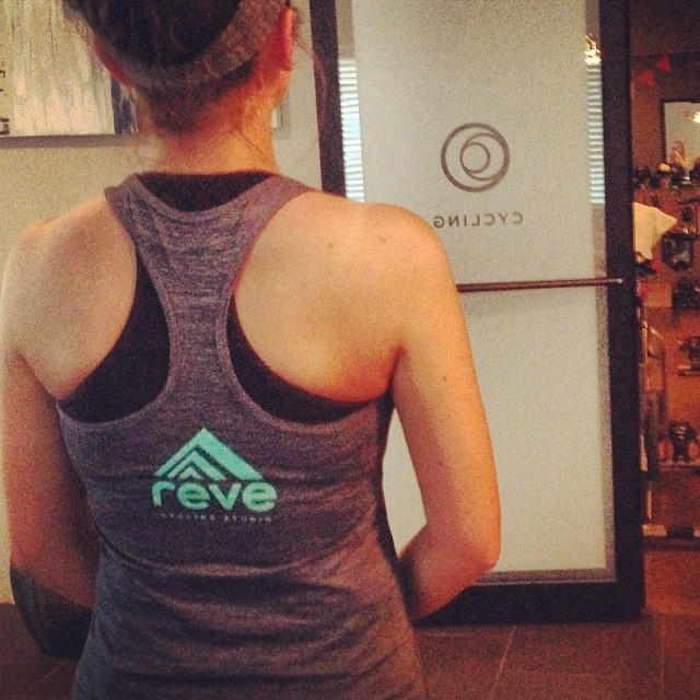 Our summer tanks and tees from @coryvines have arrived and we love them! Available at the studio now! #revecycling #rideinstyle #coryvines