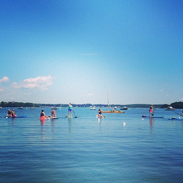 We loved our stand up paddle board yoga class at Maine YogaFest this morning! Have a beautiful weekend! #MaineYogaFest2014