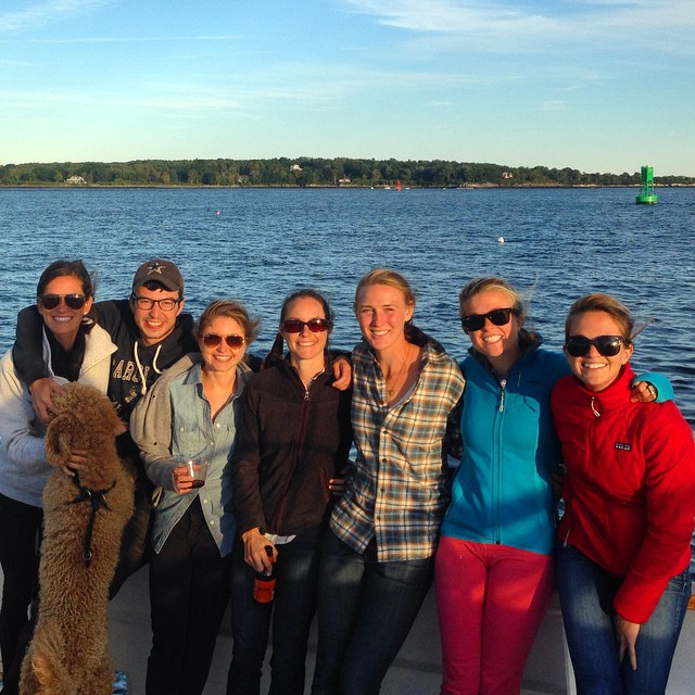Most of the Rêve instructor team enjoying a gorgeous Friday night on the water! Thank you @francesproject and @meegangriffith!