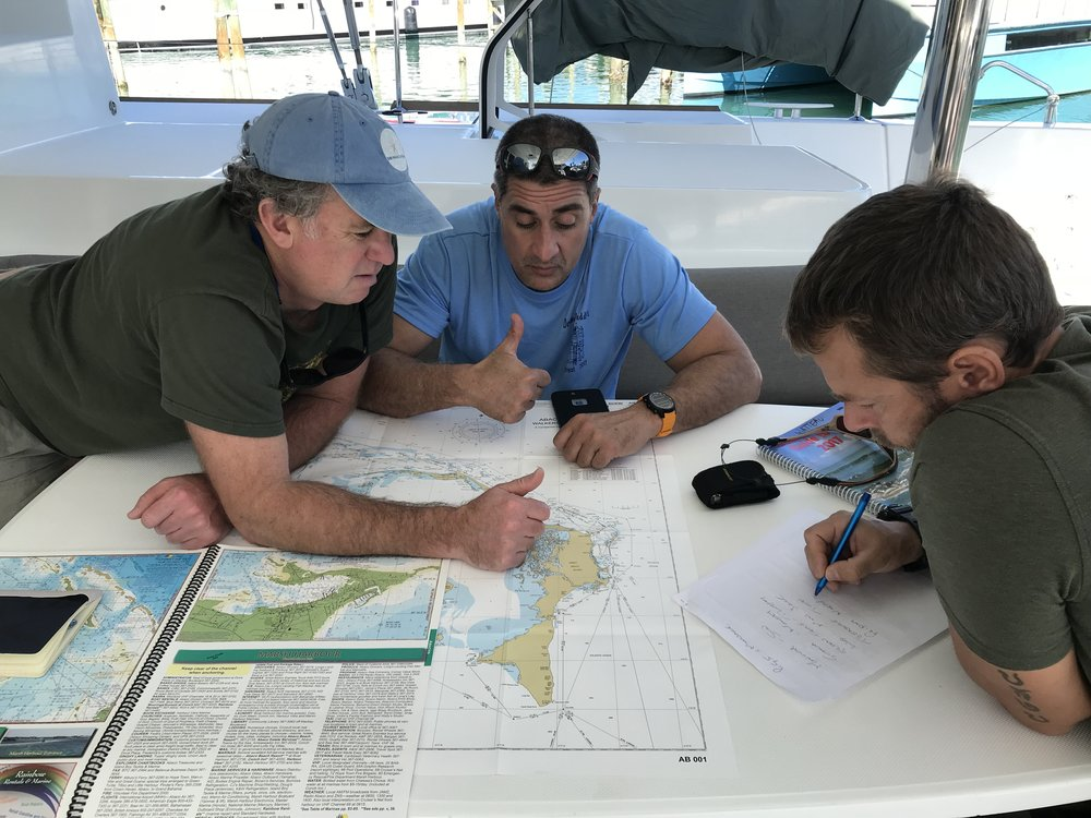 Hopper, Dave and Simeon plot out our route for today and tomorrow.