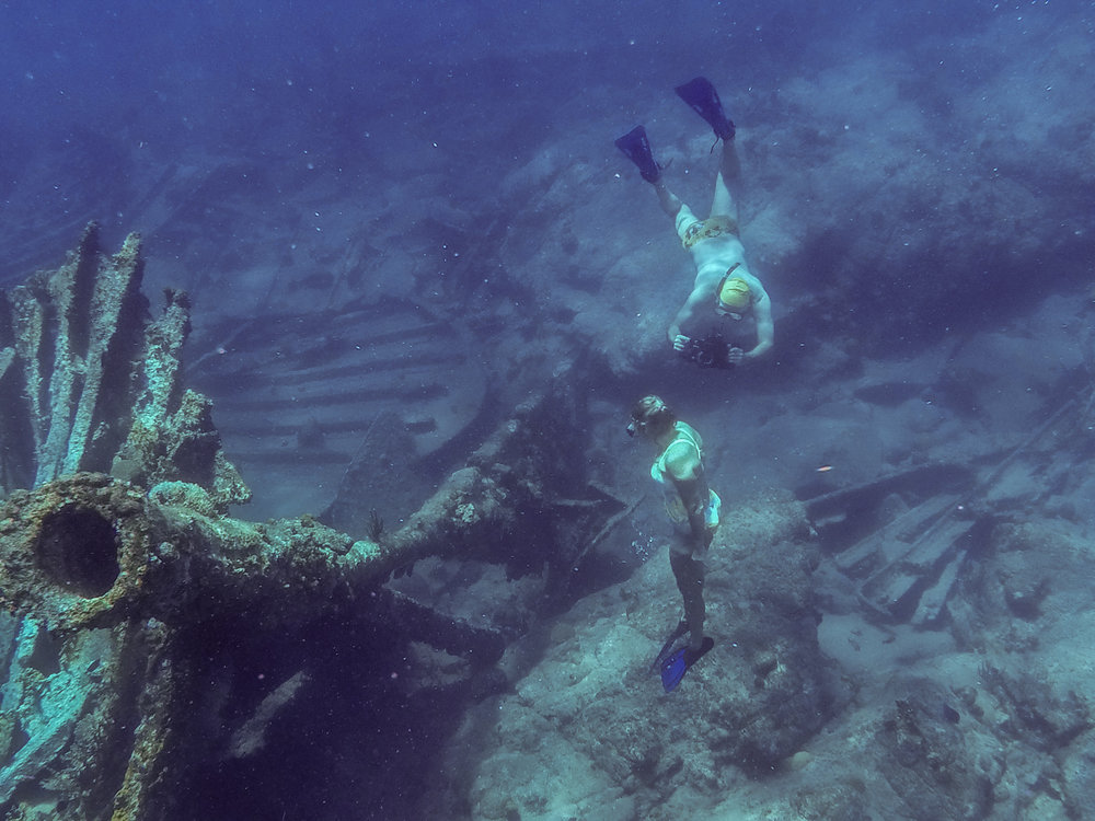 Hopper turns the camera on Heather during a free dive on the wreck of the Rhone.