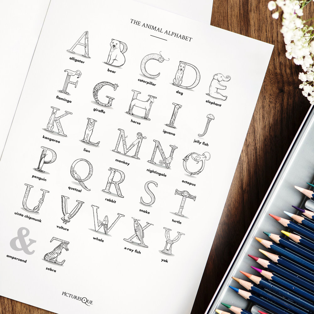 Printable-Colouring-Page-Animal-Alphabet-Square