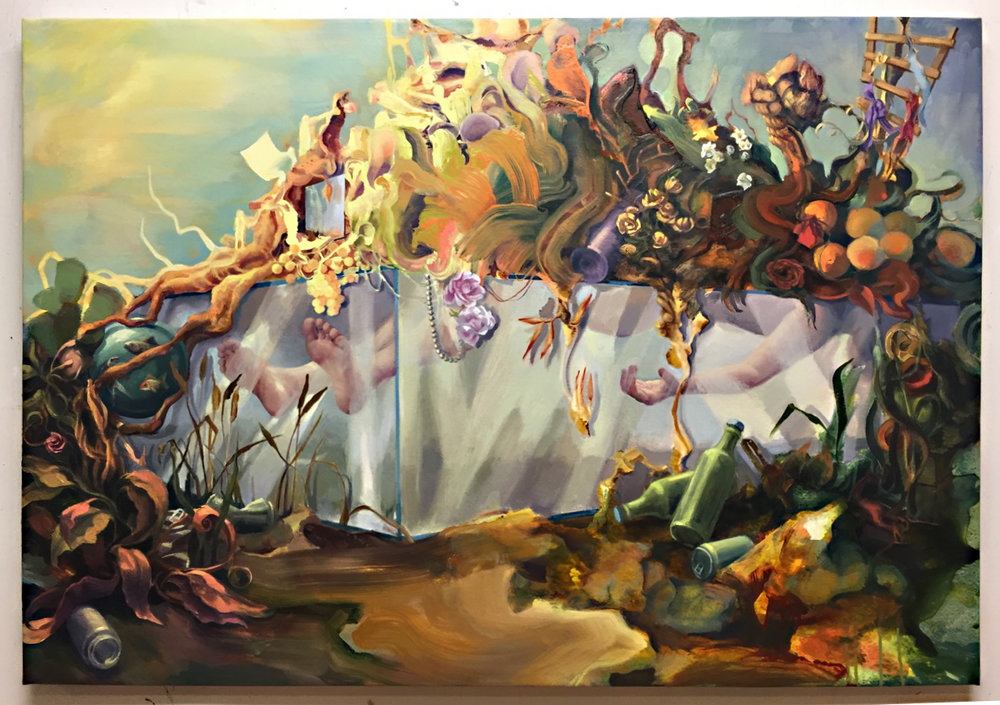 Virginia Wagner, Wake, 2016, acrylic, ink and oil on canvas, 38 x 55 inches
