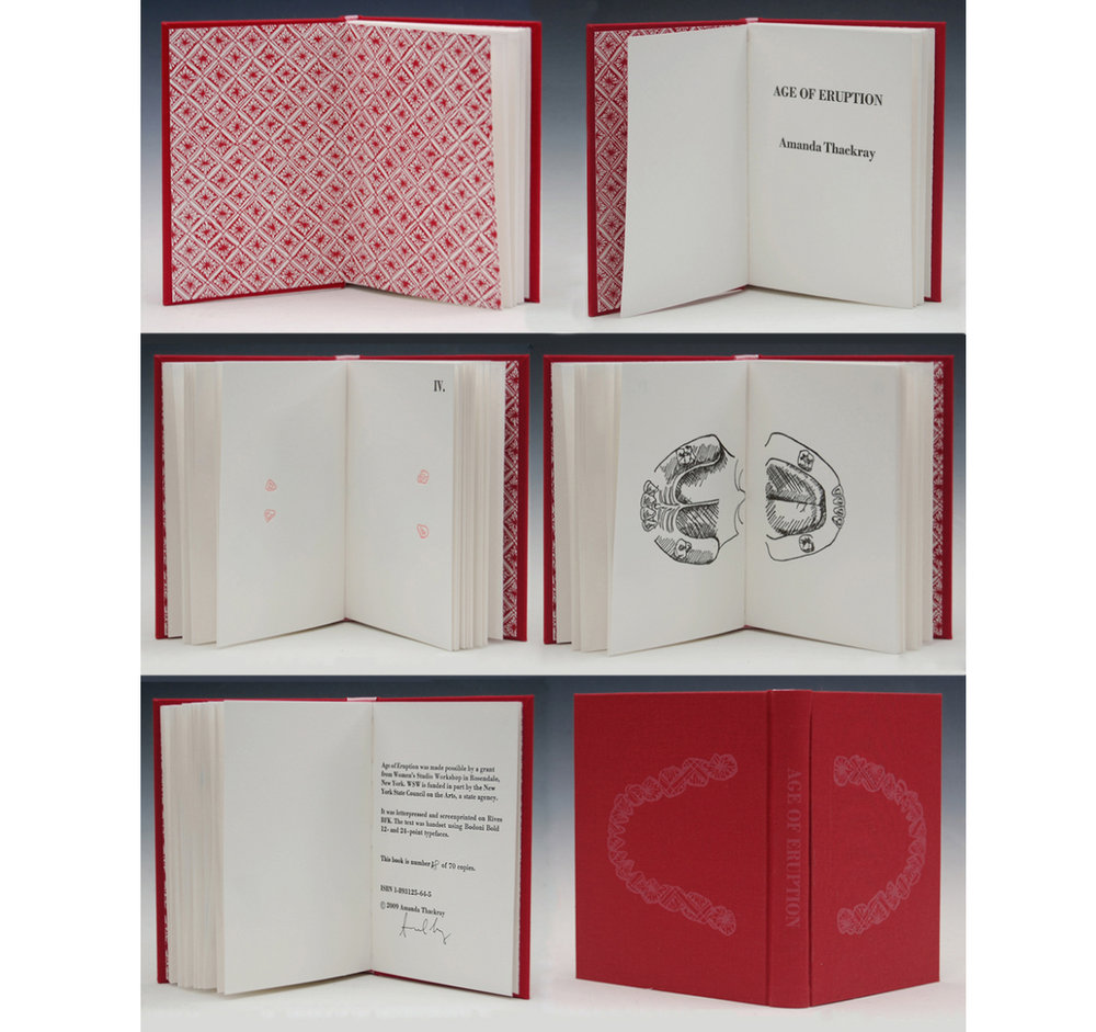Age of Eruption , 2009 Handbound book with letterpress and screenprint on Rives BFK, 6 x 4.75 in, Edition of 70