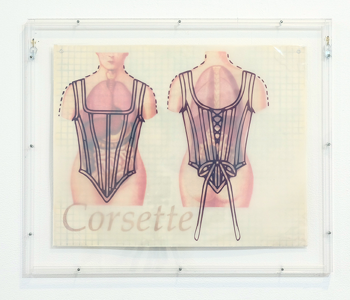 Corsette,  2000, drypoint, Iris transfer on Mulberry paper, relief, brownline print on vellum, AP 4, 16 x 20 inches