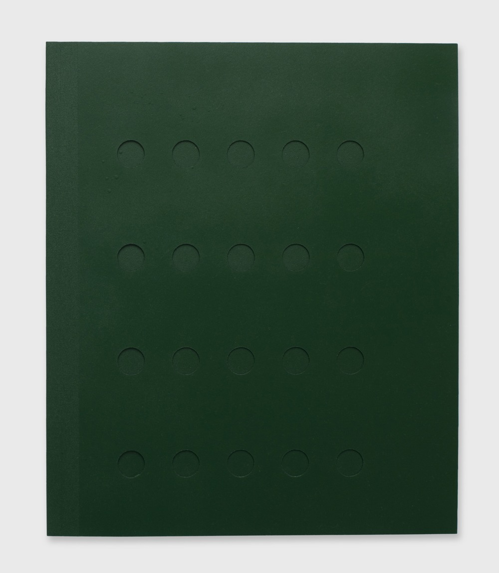 Spray Through Book (Tubes) , 2011, Plotter cut bristol paper, spray paint, cloth binding, PP 1, 16 x 13.375 inches