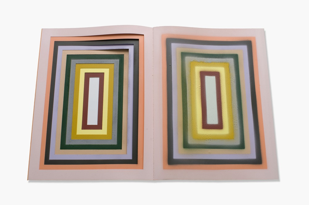 Spray Through Book (Recession) , 2011, Plotter cut bristol paper, spray paint, cloth binding, PP 1, 16 x 12.375 inches