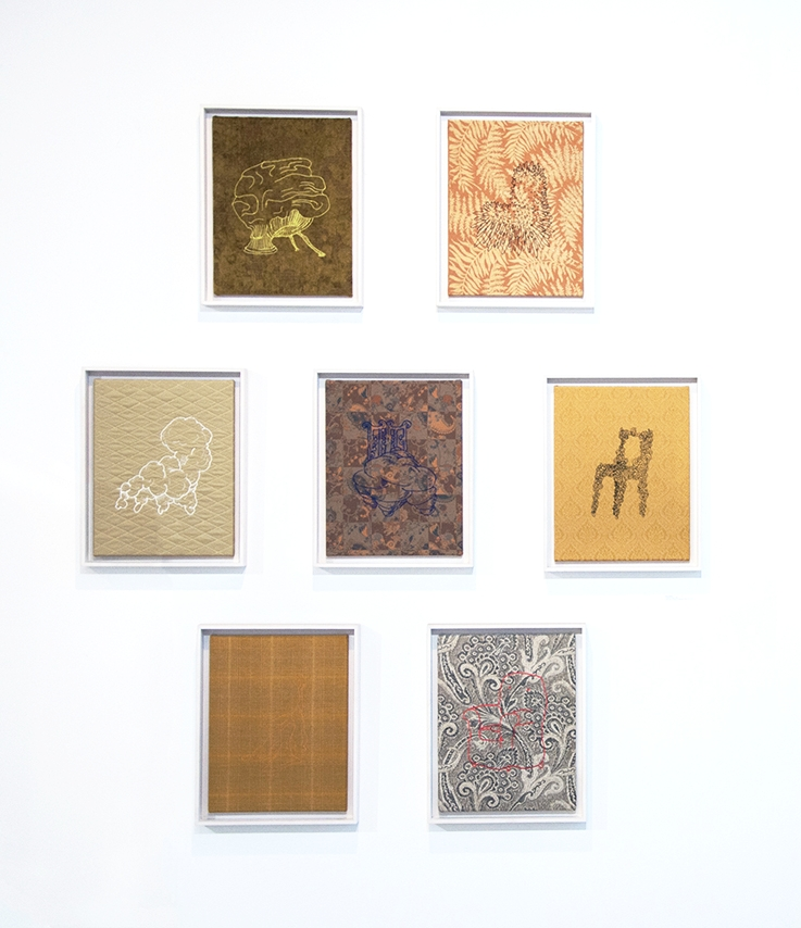 Untitled (Chairs) , Embroidered thread on upholstery fabric (on stretchers in floater frame), PP 1, 18 x 14 inches each