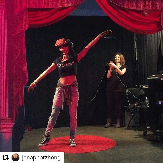 #Repost @jenapherzheng with @repostapp ・・・ And that's a wrap for #VRLA2017 ! Here's me bowing for a roaring virtual audience in #cvrtain using the #htcVIVE