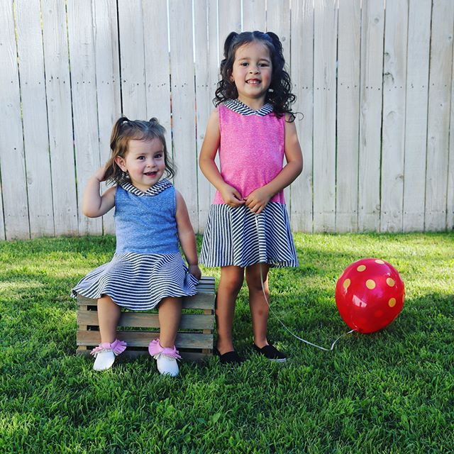 The cutest little duo wearing our Colored & BlackWhite Stripes Skater Dress! Now on sale! Head to the shop through Link In Bio! 💗 #handmadeclothing #handmadefashion #kidsfahsion #ootd #paradisekidsclothing