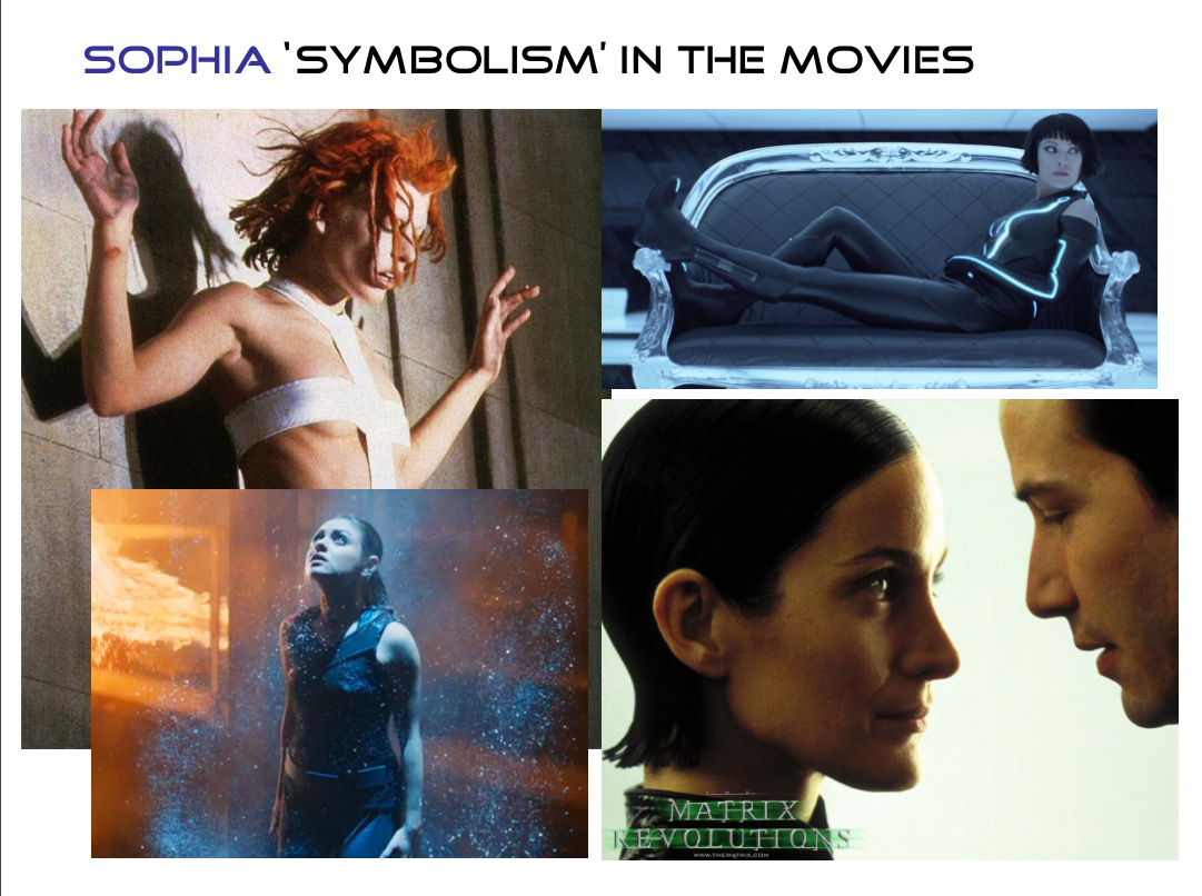 The Trinity Character in the Matrix trilogy and the Quorra character in Tron Legacy, especially is in keeping with the Sophia myth. The male figure (especially Neo) is meant to be symbolic of the Aeon Christos.     - Source