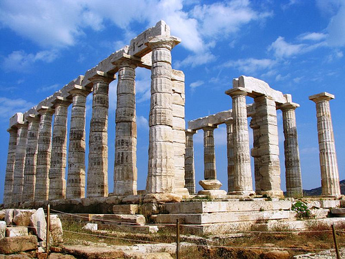 Temple of Poseidon at Cape Sounion, from the East.