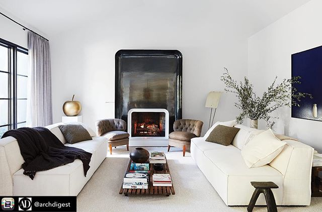 "🖤 this fireplace  Repost from @archdigest Though @krisjenner has built an empire living in the spotlight, her personal refuge was designed specifically for peaceful repose, not television drama. A collaboration between #AD100 designer Waldo Fernandez (@waldos_designs) and the mother-and-son team of Kathleen and Tommy Clements (@clementsdesign), the serene, understated Hidden Hills house is awash in classic pieces by titans of 20th-century decorative arts on the order of Charlotte Perriand, Jean Prouvé, Jean Royère, Pierre Guariche, Aldo Tura, Paolo Buffa, and Oscar Niemeyer. It's a dramatic departure from the dynamo's previous home, which she still uses to tape KUWTK. ""I've been collecting furniture and making houses for a lifetime. I've had so many different types of homes in so many different styles,"" Jenner recalls, laughing at the memory of some of her earlier efforts. ""In the '80s, my bedroom looked like a lavender-chintz supplier threw up all over it. Robert Kardashian was such a good sport,"" she adds, referring to her then-husband and father of Kourtney, Kim, Khloé, and Rob. With comfort and coziness as their guiding stars, the designers of this house orchestrated a series of tranquil, largely monochromatic rooms outfitted with pedigreed furnishings upholstered in silk, suede, alpaca, sheepskin, and other luxurious coverings. ""Kris has genuinely sophisticated taste. The Prouvé daybed, the Jeanneret chairs, the Lalannes—these are all things she came with. This house was a great opportunity for her to express her love of art and design,"" observes Fernandez. Visit the link in our profile to see more of the home. Photo by @wabranowicz; text by @mayer.rus; styled by @lawrenhowell"