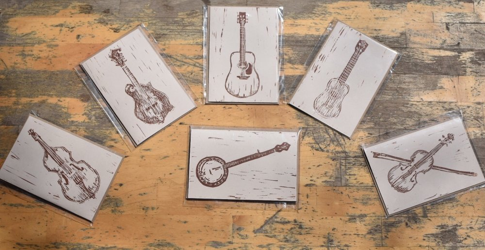 Double Bass, Mandolin, Guitar, Ukulele, Fiddle and Banjo Linocut Prints.  All 4x6 with envelope.