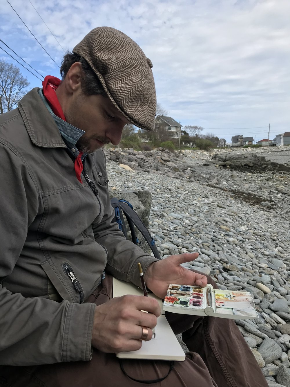 Painting on Peaks Island, Maine. Photo by Joey Baker
