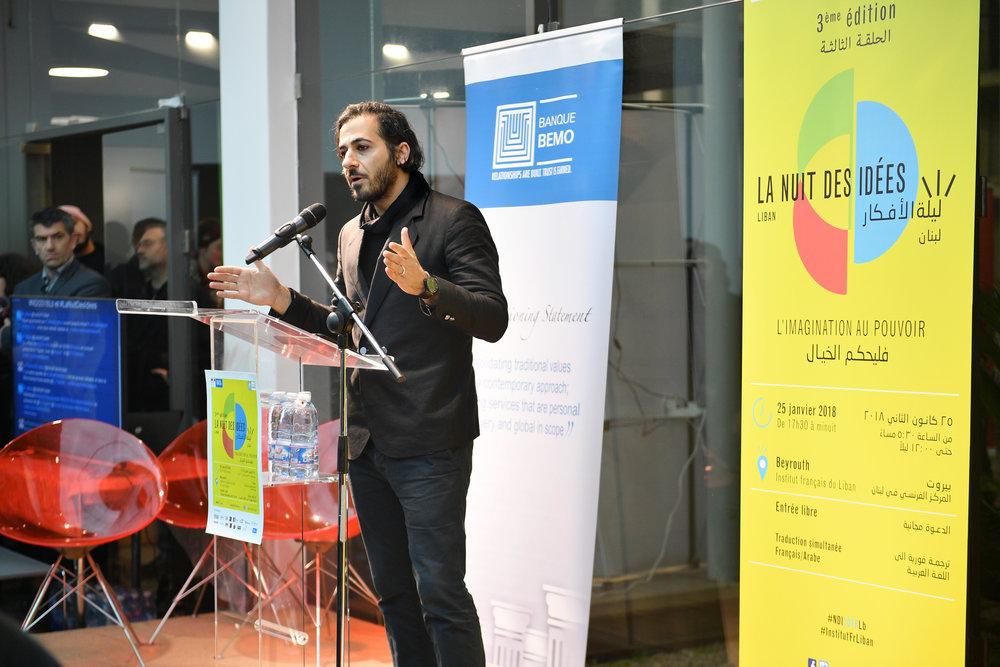 Rabih Salloum intervenant lors de la cérémonie d'ouverture de la Nuit des idées.