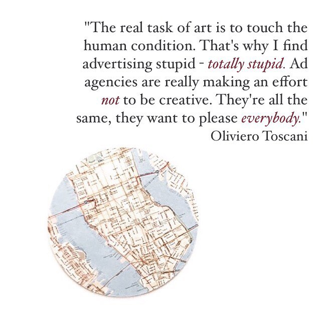 Thoughts on this hot take from a recent interview with legendary photographer and social provocateur Oliviero Toscani? His recent work for Benetton's new ad campaign has generated lots of buzz. . . . . . #marketing #advertising #publicrelations #pr #adagency #adagencylife #philosophy #photography #photographer #photographylife #art #arthistory #arthistorian #artphotography #sociology #advertisingphotography