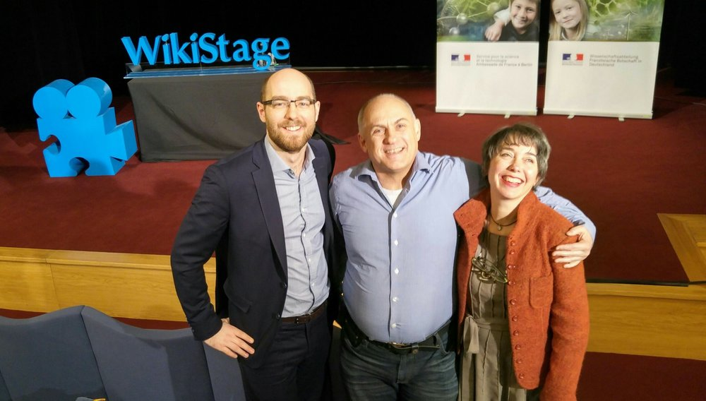 With colleagues Pascal Heymann, Claude Desroches, at the French Embassy coaching speakers for WikiStage.
