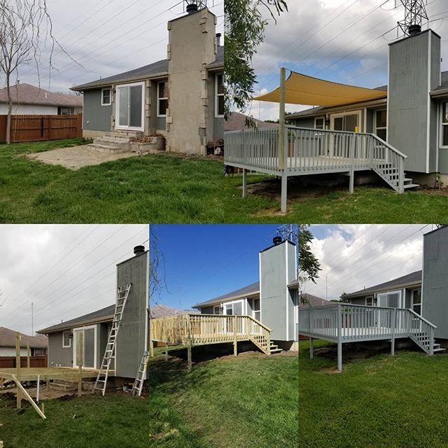 30B match exterior, build & paint 16x16 deck, hang screen shade