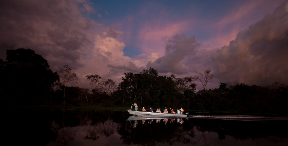 Searching for alligators at night in Nauta Caño