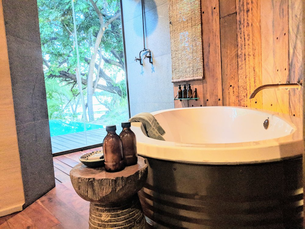 Hard to choose between the plunge pool, outdoor shower and amazing soaking tub.
