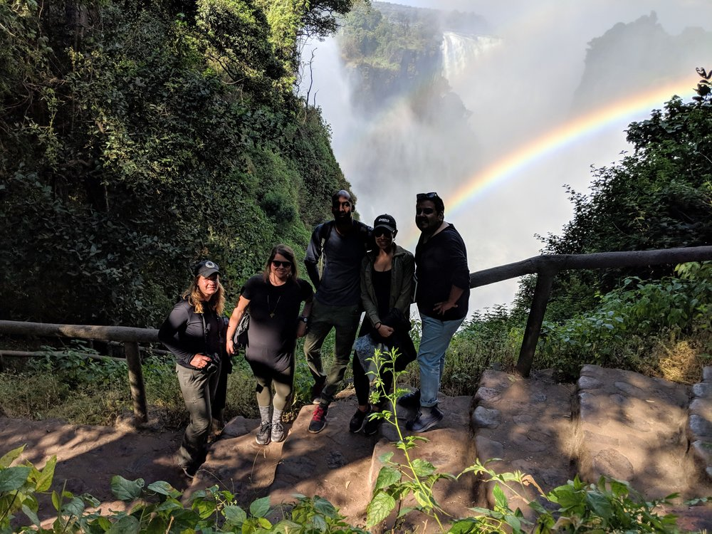 My friends and me taking in the jaw dropping views at Vic Falls