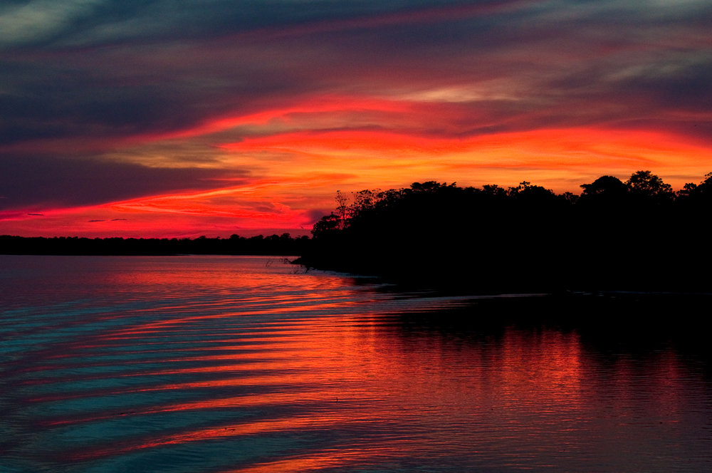 Sunset in the Amazon aboard the Delfin