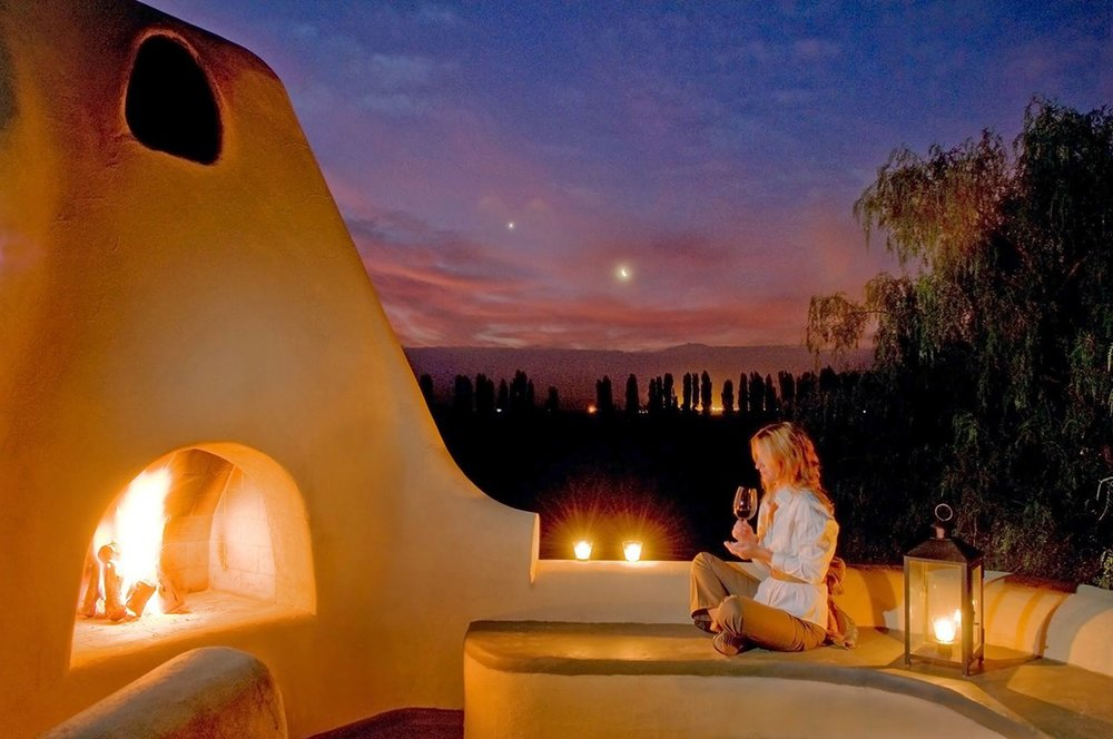 Romantic fire pit at Cavas Wine Lodge