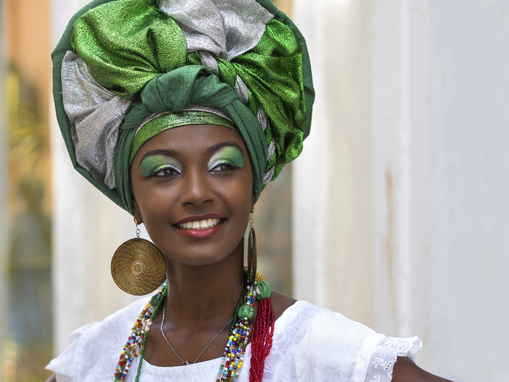 Brazilian Woman Dressed in Traditional Bahian Attire