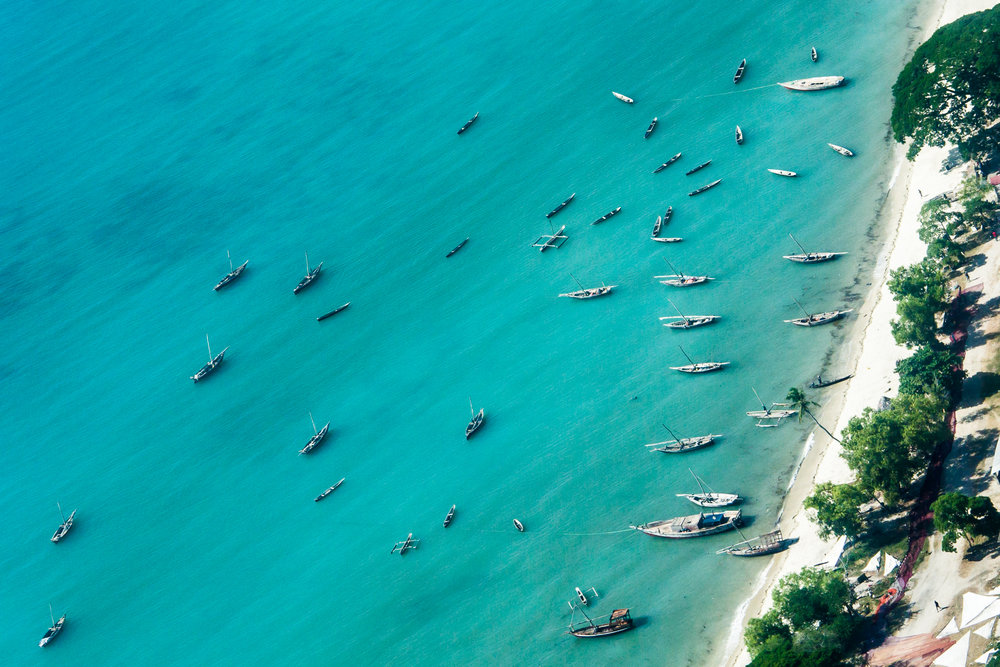 Boats on coast of Zanzibar