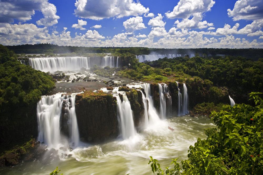 Iguazu Falls, located in Brazil, Argentina, and Paraguay