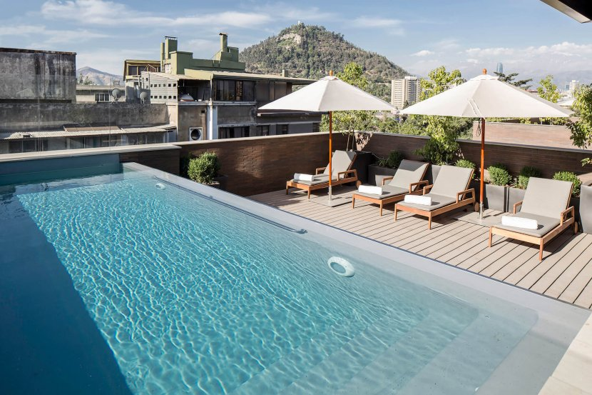 Swimming Pool on the Rooftop of Singular Lastarria, Santiago