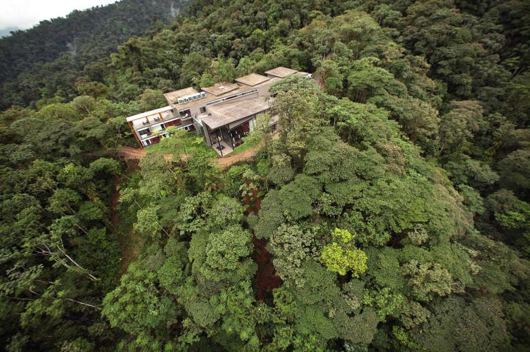 Aerial View of Mashpi Lodge, Cloud Forest, Ecuador