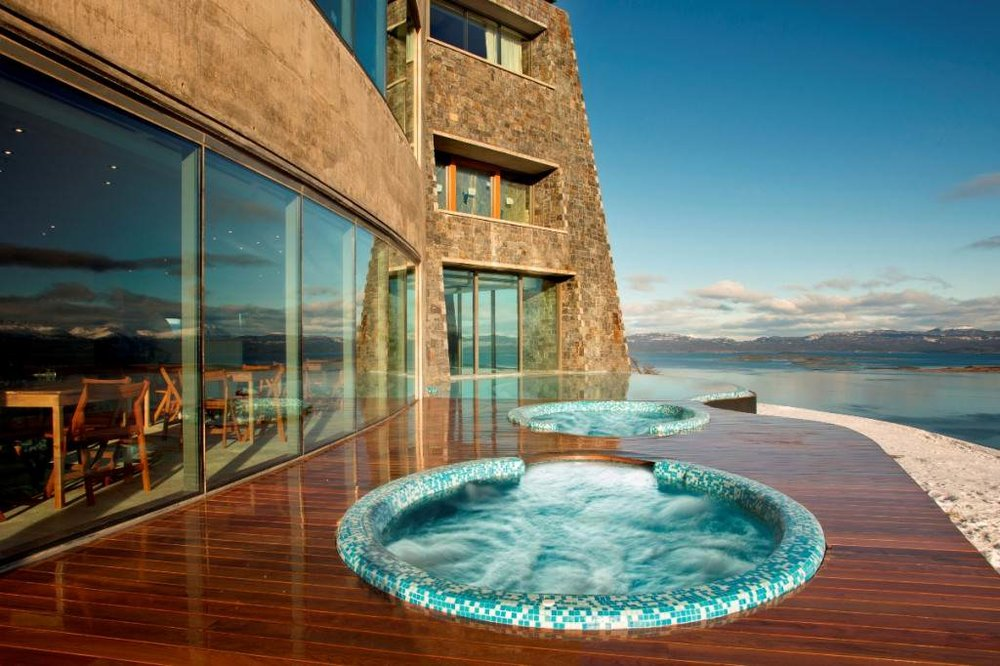 Hot tubs with a view at Arakur Resort, Ushuaia, Argentina