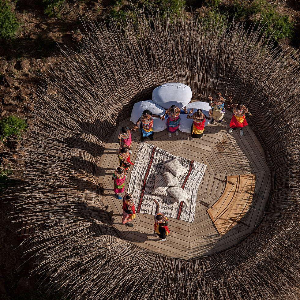 Aerial View of the Bird Nest at Villa at Segera Retreat in Laikipia, Kenya