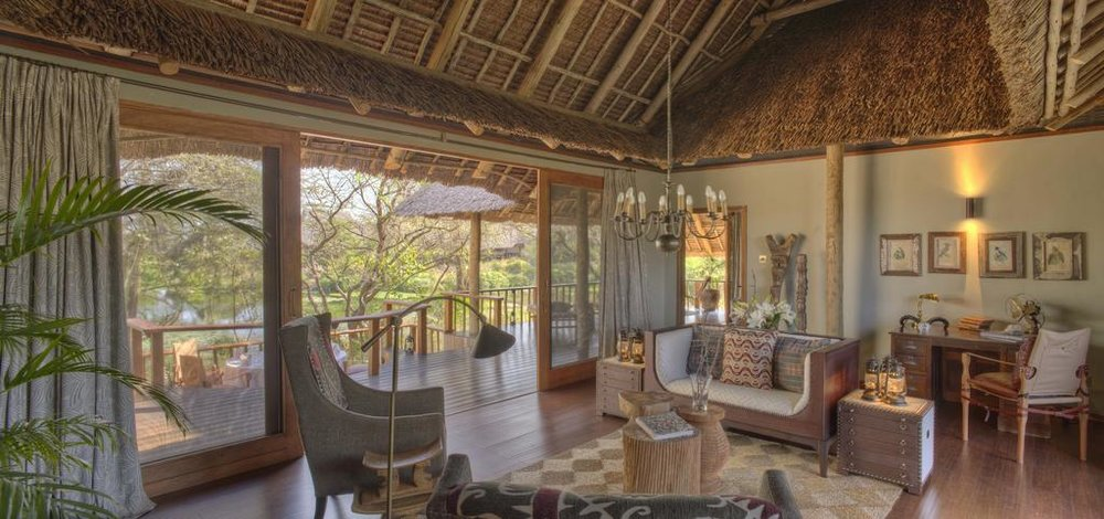 Sitting Room at Finch Hattons in Tsavo West, Kenya