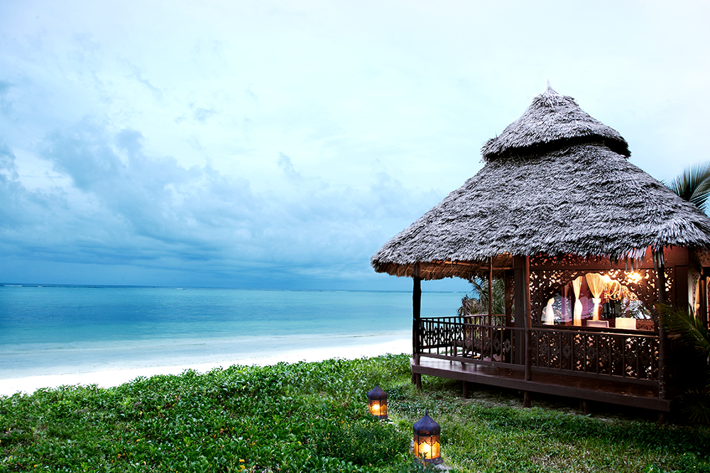 Gazebo overlooking Bwejuu Beach at Breezes Beach Club in Zanzibar