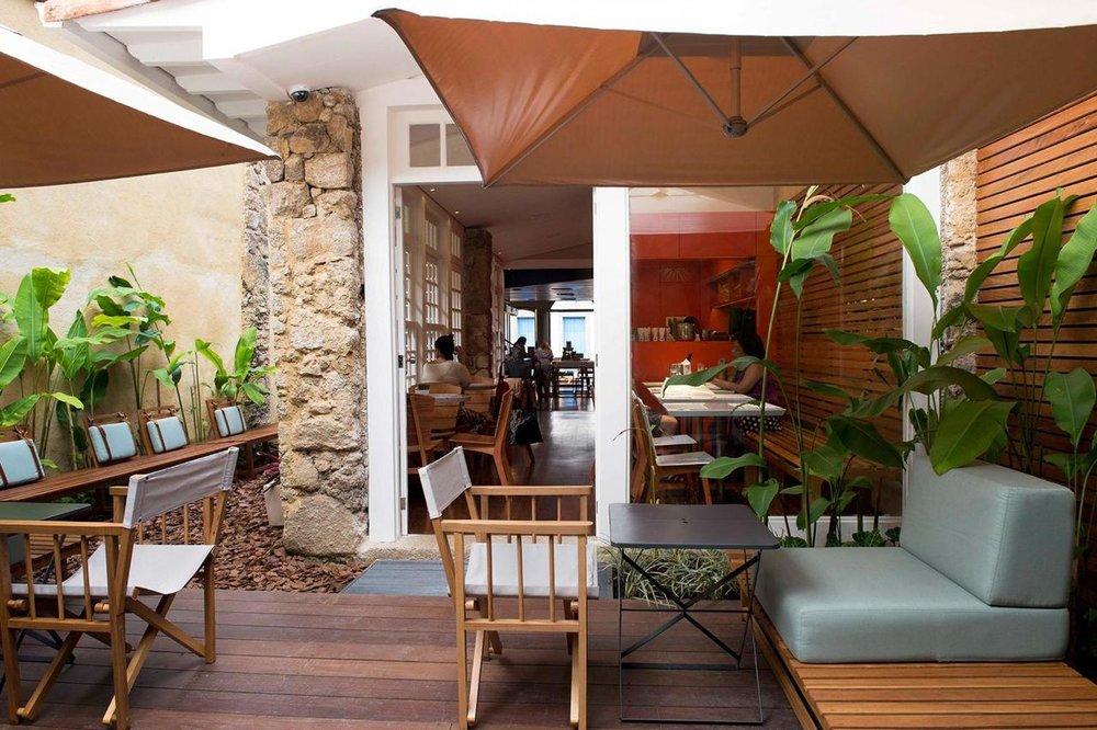 Outdoor lounge at Hotel Pousada Literaria, Paraty