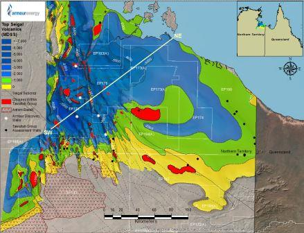 The extent of the newly recognised Tawallah Group source rock exploration play within Armour's permits