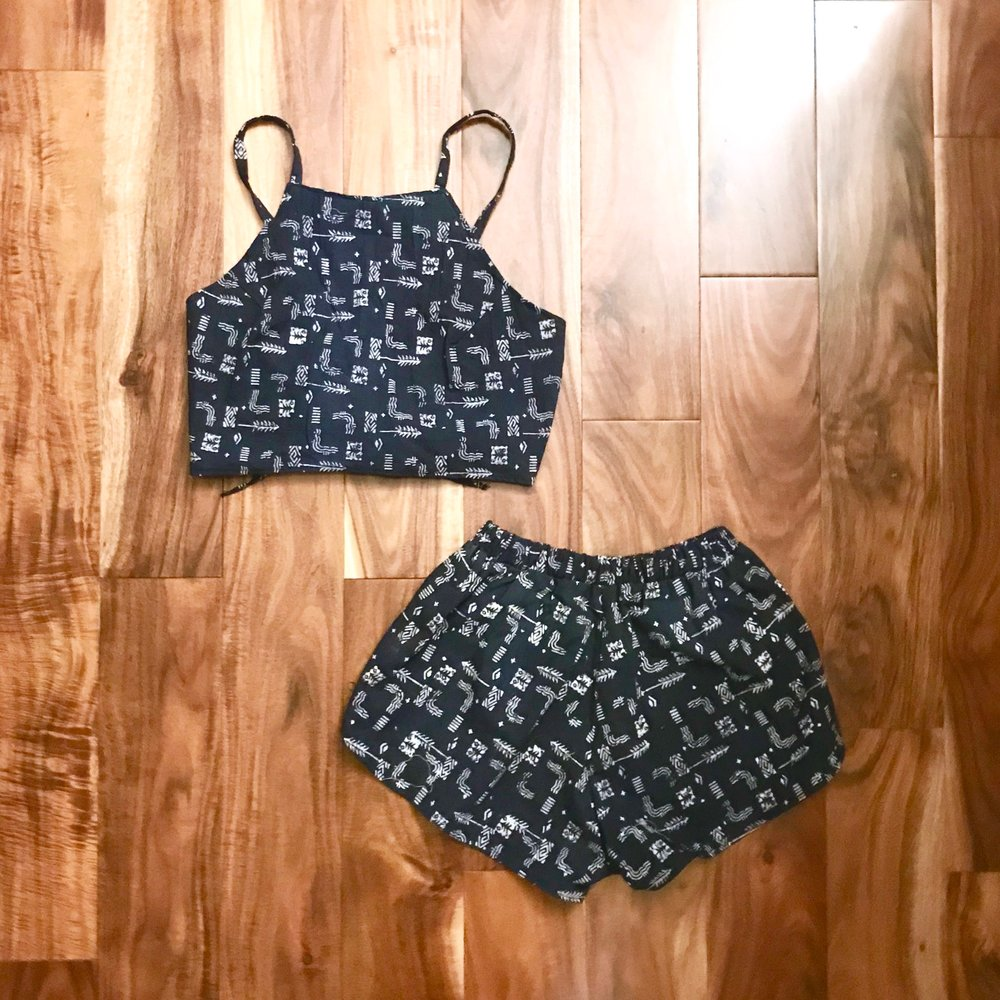 2 piece romper with white printed on navy