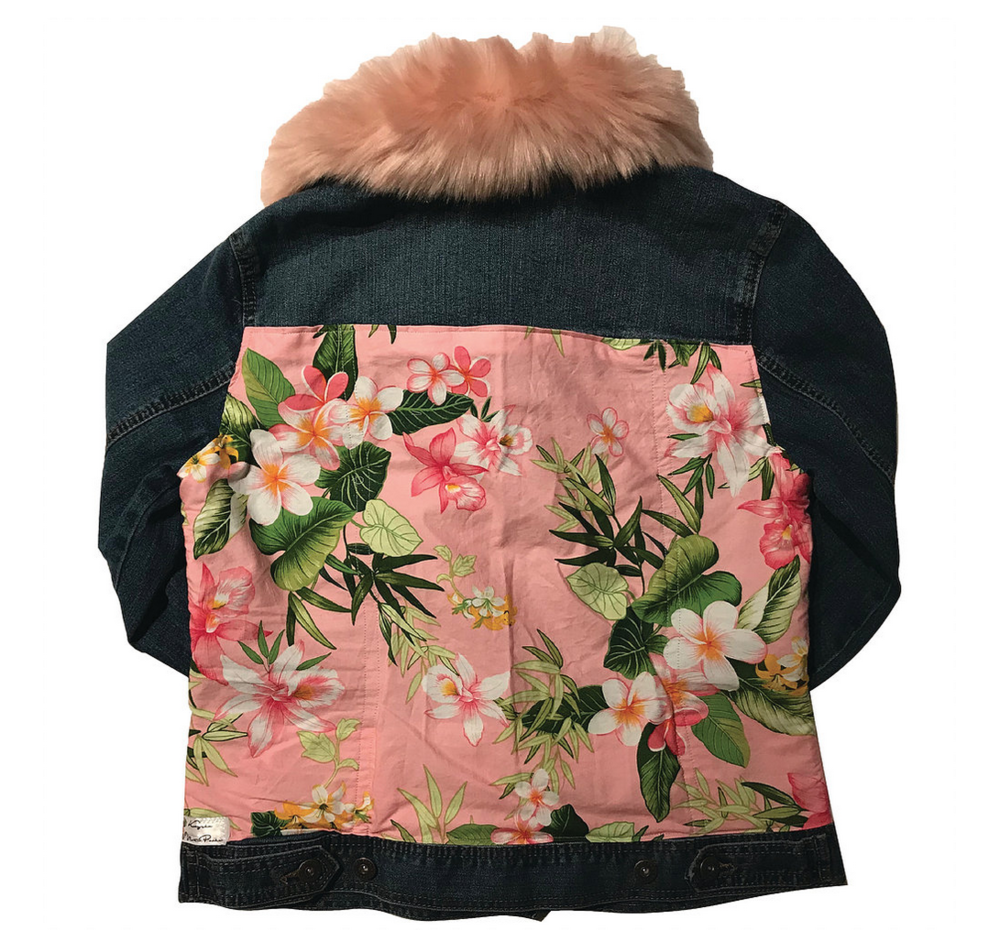 The Wailua Jacket (actually a photo of the Hanalei, but similar in print and fur collar color)