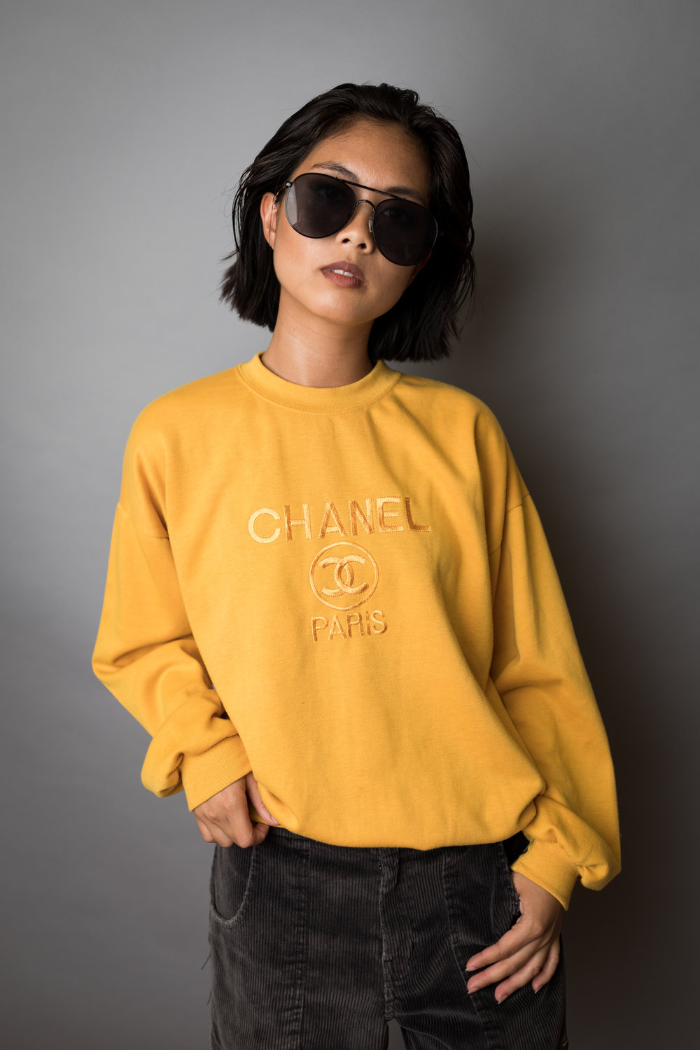 I never knew Chanel had sweaters and this one is so comfy! And these corduroy shorts are loose at the legs and fit perfectly at my waist.
