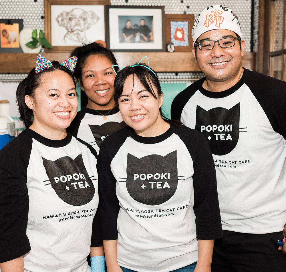 Liberty (center right) with the Popoki + Tea fam