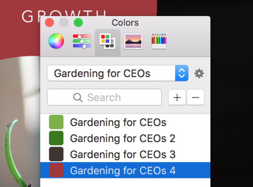Drag colors into your custom palette