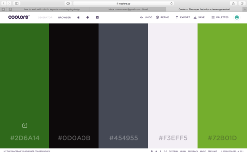 Paste and lock the code into one of the color bars on coolors.co