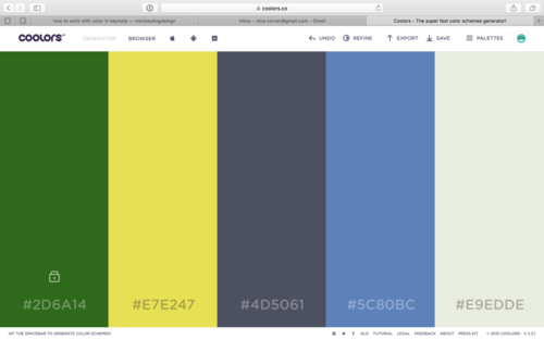 Hit spacebar to generate color palettes that compliment your color